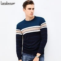 Autumn Winter Clothing Men Knitted Sweater O-Neck Slim Fit Pullover Men Striped Sweaters For Men