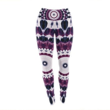 "Iris Lehnhardt ""Batik Pattern"" Purple Geometric Yoga Leggings"