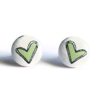 Green Heart Print Fabric Covered Button Earrings NICKEL FREE