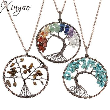 XINYAO 2017 Fashion 7 Chakra Life Tree Pendants Necklaces For Women Natural Stone Wisdom Tree Necklace Female Jewelry Collana
