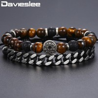 Tiger Eye Stone Man-made Leather Adjustable Bracelets