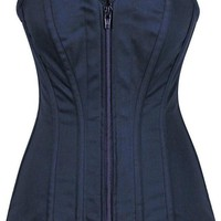 Daisy Corsets Top Drawer Steel Boned Navy Blue Cotton Overbust Corset