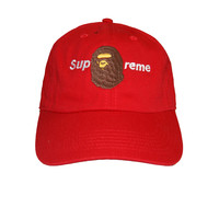 Talento Bape Supreme Dad Hat In Red