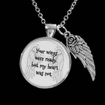 Your Wings Were Ready Guardian Angel Wing In Memory Remembrance Necklace