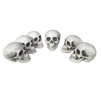 6pc a lot Small Size Skull 100% Plastic Halloween Props Grave Yards Decorations
