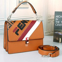 FENDI Women Fashion Leather Crossbody Shoulder Bag Handbag Satchel