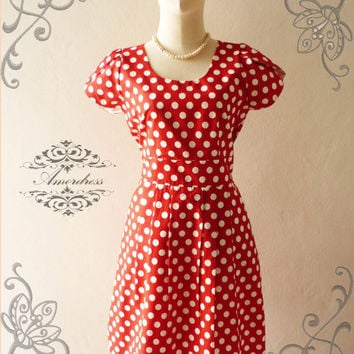 NEW DESIGN ...Amor Vintage Inspired Red Dot Vintage Wedding Prom Cocktail Party Dress Everyday Dress -Size M-