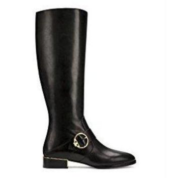 ESB3DS Tory Burch Sofia Leather Riding Boots, Black