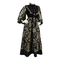 Emanuel Ungaro Boutique 1980s Black & Gold Lace, Velvet & Taffeta Dress