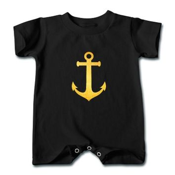 Cool Hipster Anchor (Golden Beach / beach - style) Baby T-Romper