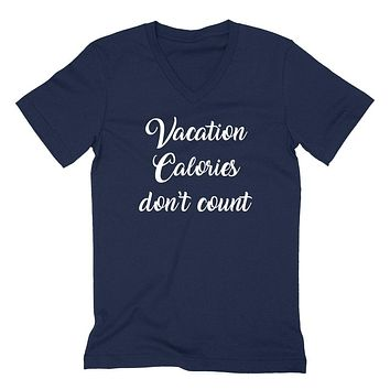 Vacation calories don't count, summer, cruise, funny workout graphic V Neck T Shirt