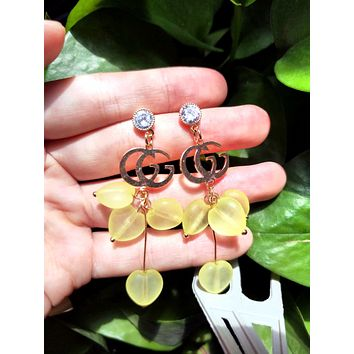 GUCCI 925 Silver Needle Popular Women Diamond Double G Candy Color Heart Pendant Earrings Accessories Jewelry