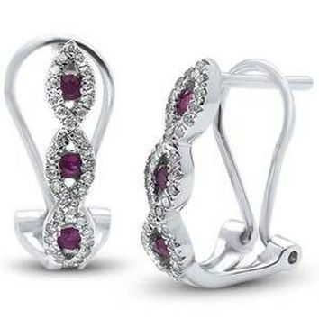 Prong Set G SI Diamond And Ruby Antique Style Elegant 14K White Gold Earrings