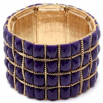Beatrice's Purple Natural Stone Weave Design Bracelet