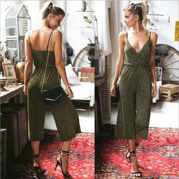 Summer Women's Fashion Gold Sleeveless Spaghetti Strap Capri Jumpsuit [8096397831]