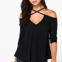 Sarah Strappy Cold Shoulder Ribbed T-Shirt | Boohoo