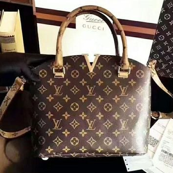LV Metal V Leather Tote Crossbody Satchel Shoulder Bag H-AGG-CZDL