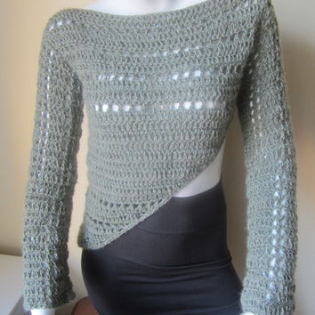 SWEATER, CROCHET, asymmetrical sweater, cropped sweater, army green sweater, asymetrical cropped sweater, wool cashmere blend