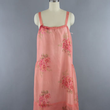Vintage 1920s Silk Chiffon Dress / 20s Slip Dress / 1920 Silk Lingerie / Silk Slip / Silk Dress / Pink Floral Print / Size XXS XS 0 2
