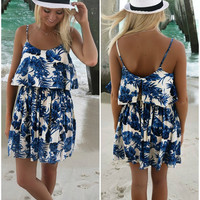 Kauai Cream And Blue Floral Print Sundress