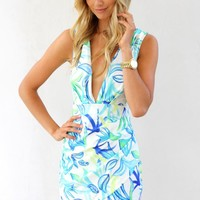 Blue Tropical Print Bodycon Dress with Plunge Neckline
