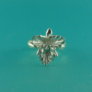 Silver Orchid Jewelry - Sterling Silver Cattleya Orchid Ring