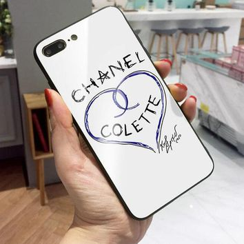 Chanel Trending Stylish Glass iPhone X 8 8 Plus 7 7 Plus Lovers iPhone Cover Case White I12045-1