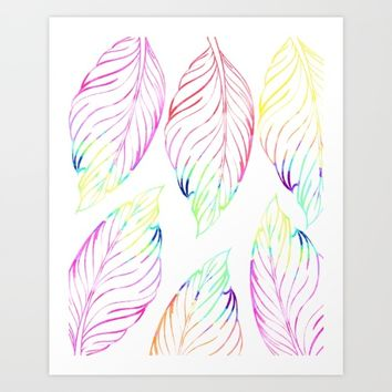 Watercolor feather #society6 Art Print by Designlovelab