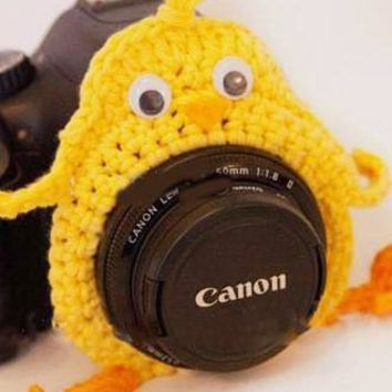 Crochet Yellow Bird Chick Lens Buddy Hood Cover Photographer Gift - PFLH23