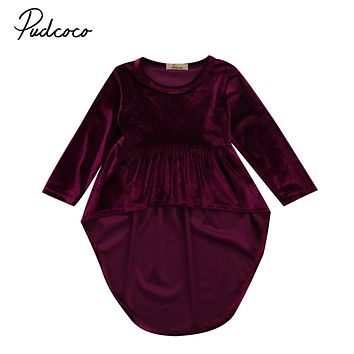 Newborn Baby Girls Retro Pleuche Party Pageant Dresses Asymmetrical Hem Dress Infant Toddler Girl Dresses irregular Brief