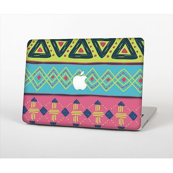 The Vector Sketched Yellow-Teal-Pink Aztec Pattern Skin Set for the Apple MacBook Pro 13""