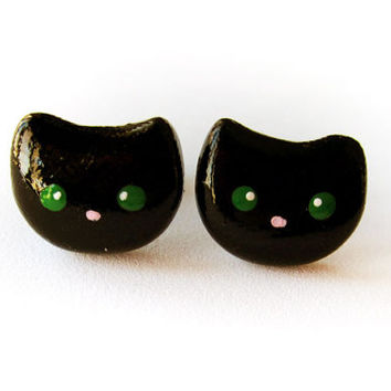 Black Cat Earrings Polymer Clay Jewelry