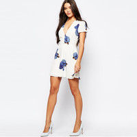 White Floral Print Short-Sleeve V-Neck Dress