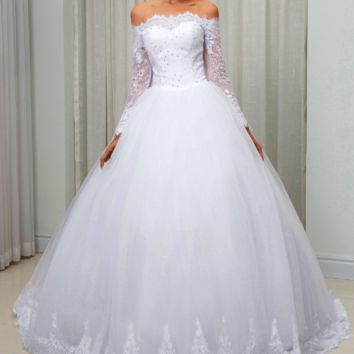 Off The Shoulder Long Sleeves Ball Gown Wedding Dress Lace Vintage wedding-dress
