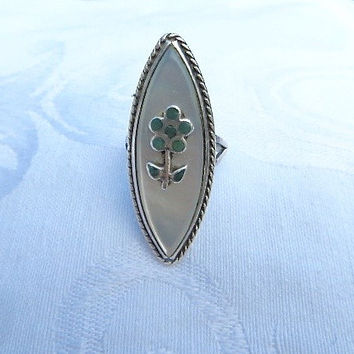 Vintage Zuni Ring Sterling Turquoise Mother of Pearl Native American Jewelry Southwest Style Size 5.5