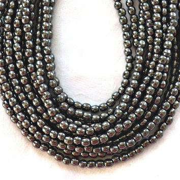 Lot of 100 3mm metallic dark gray hematite Czech glass druks, smooth round druk beads C2401