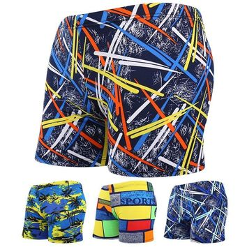 Men Multi Print  Elastic Swimming Beach Surfing Boxer Shorts