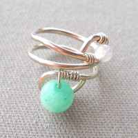 Jade,Rainbow Moonstone Wrapped Silver Wire Twisted Ring