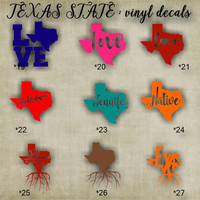 TEXAS vinyl decals - 19-27 - car window sticker - custom texas car sticker - personalized decal - car sticker - vinyl sticker - decal