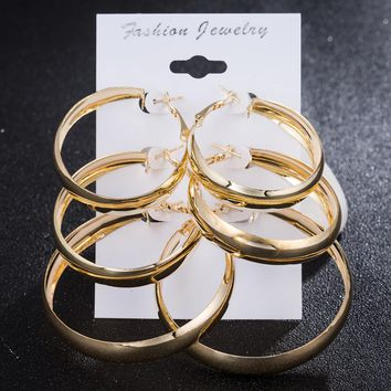 Hiphop fashion Big Wide Hoop earrings for women Circle statement earring Nightclub party jewelry Brincos Bijiox 3 Pairs / Set