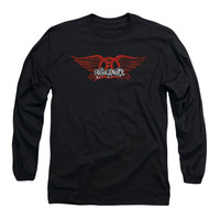 Aerosmith Men's  Winged Logo  Long Sleeve Black Rockabilia