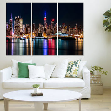 new york skyline wall art canvas, new york photo Print, extra large canvas art, black and white wall art new york skyline night canvas  9s04