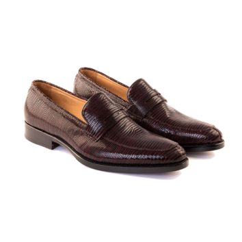 Giovanni - Penny Loafer Shoe In Embossed Burgundy Calf Leather