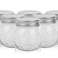 Golden Spoon Mason Jars, With Regular Lids, and Lids for Drinking, (Set of 6) (10 oz)