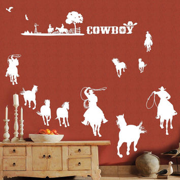 Cowboy Vinyl Decal Cowboy Scene Wall Decal Cowboys Horses Western wall sticker animal Wall Art Decor for Bedroom Lounge living room