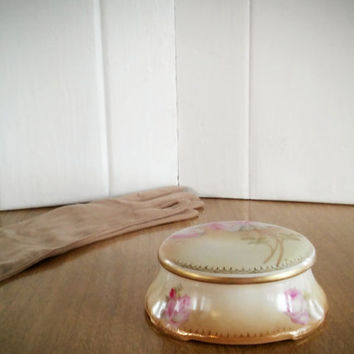 Powder Box, R S Germany Powder Box, Rose Porcelain Puff Box, Vintage Dresser Jar, Mothers Day Gift Ideas