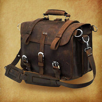 "16"" leather Bag / Leather Briefcase / Backpack / Messenger / Laptop / Men's Bag / --Y001"