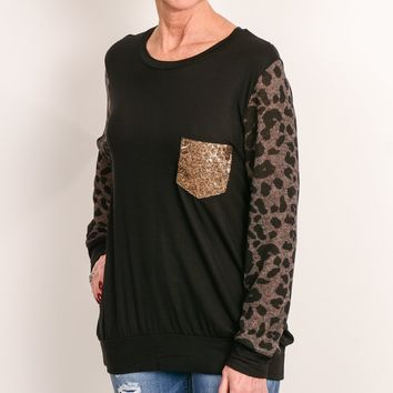 Black Animal Sequin Pocket Raglan
