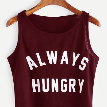 Letter Print Crop Tank Top BURGUNDY