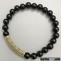 SUCCESS: Black Onyx | Gold Pave Bar | Yoga Chakra Bracelet